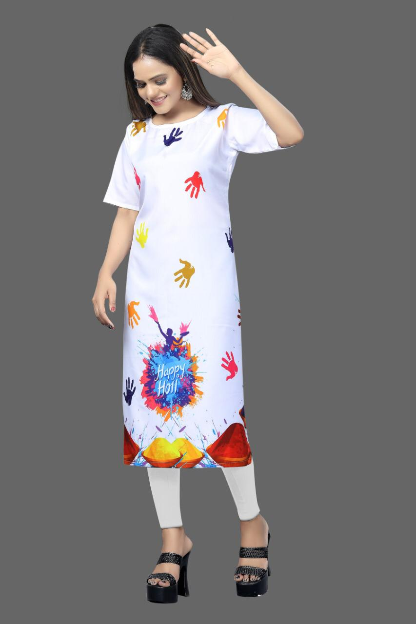 Digital Print White Crepe Kurtis Holi Festival Traditional Dresses