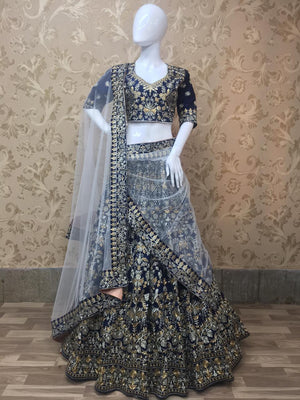 Embroidered Navy Blue Silk Latest Indian Wedding Lehenga Collection