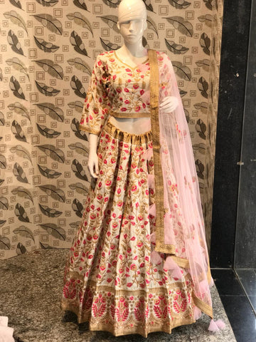 Off White Embroidered Raw Silk Lehenga Choli Designs For Wedding Online