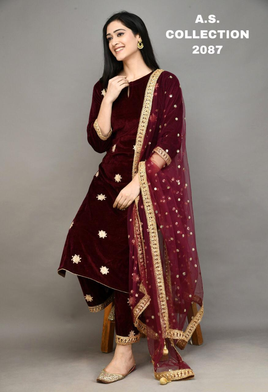 Maroon Gota Patti Embroidered Velvet Kurti Palazzo Suits Shopping Online