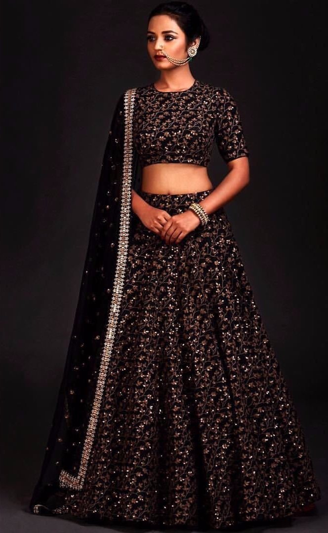 Embroidered Banglori Black Bollywood Lehenga Wedding Dress