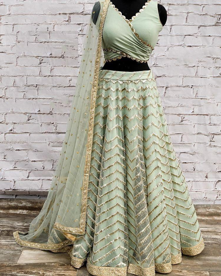 Light Sage Green Net Sequin Work Party Lehenga Blouse Online