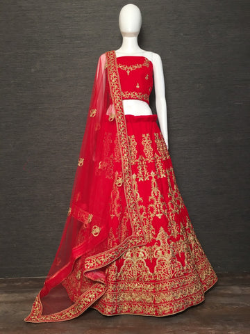Red Velvet Party Wear New Lehenga Choli Collection