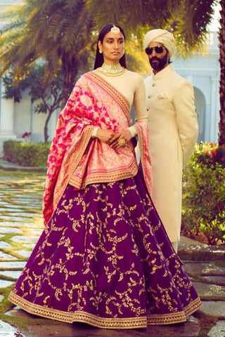 Magenta Embroidery Silk Indian Style Party Dress Lehenga