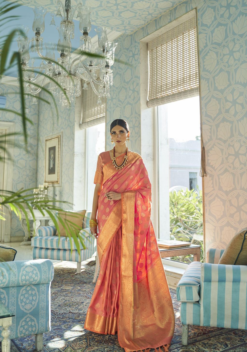 Peach Banarasi Silk Indian Silk Sarees Online Shopping
