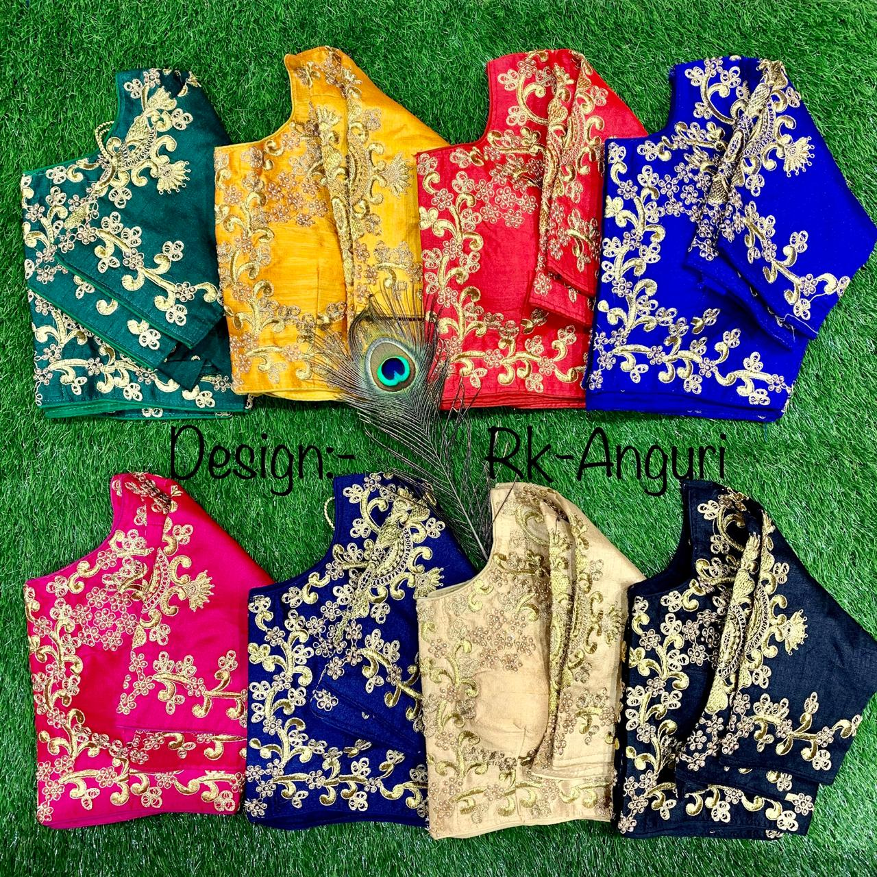 Yellow Silk Embroidered Short Sleeve Saree Blouse India Online