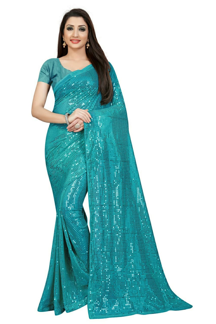 Turquoise Georgette Sequins Party Wear Latest Sarees In India