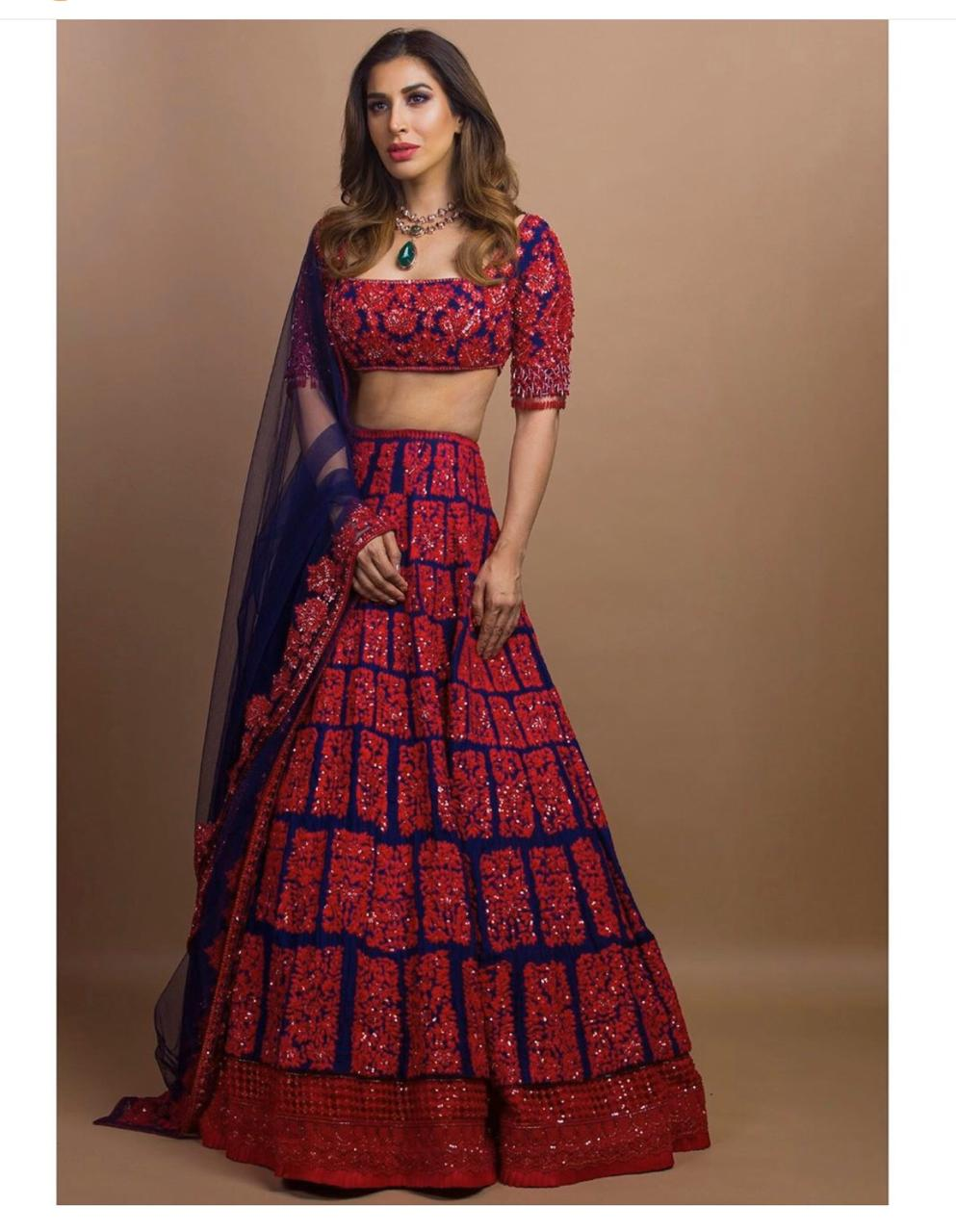 Sophie Choudry Blue Embroidered Party Lehenga Blouse Shopping India