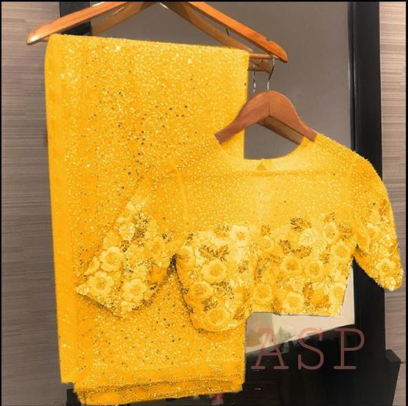 Yellow Georgette Sequins Latest Saree Purchase Online