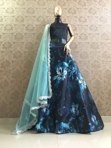 Black And Blue Printed Satin Lowest Price Lehenga
