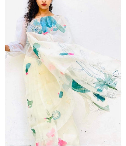 White Floral Digital Printed Latest Organza Saree and Blouse Set