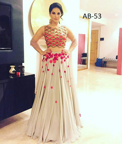 Sunny Leone Georgette Lehenga Choli Design ,Indian Dresses - 1