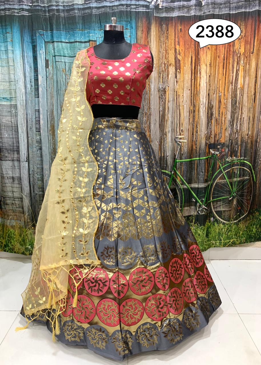 Greyish Gold Color Banarasi Fabric Lehenga Choli Online