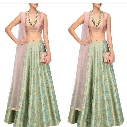 Mint Green And Pink  Bolywood Lehenga Choli Style