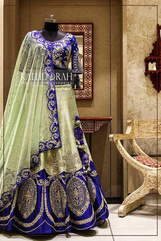 Mint Green Embroidery Silk Lehenga Choli  Wedding Dress India Online
