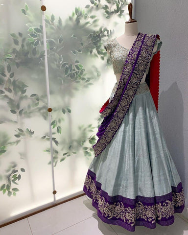 Grey Taffeta Silk Online Shopping Of Ghagra Choli