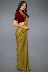 Mustard Georgette Sequins New Design Sarees With Price