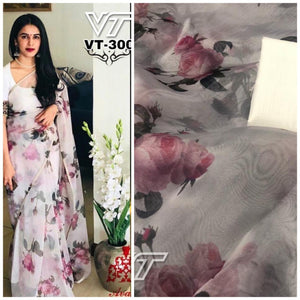 Latest Organza Floral Print New Indian Party Wear Sarees Online Buy