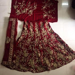 Maroon Velvet Bollywood Wedding Lehengas Online Dresses ,Indian Dresses - 2