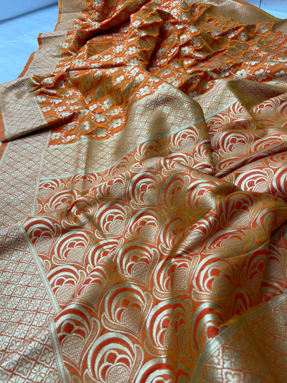 Burnt Orange Banarasi Silk Minakari Weaving Sari Shopping
