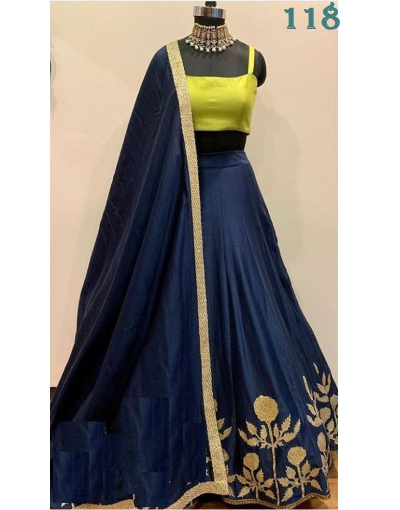 Navy Blue Banglori Embroidery Fashionable Latest Style Of Lehenga