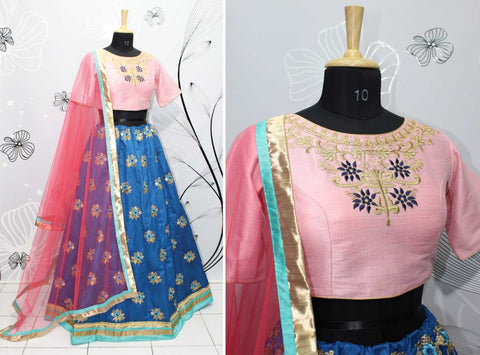 Cobalt Blue Bollywood Lehenga Choli Online Shopping