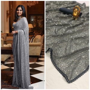 Buy Combo Saree in Sequined Georgette with Plain Silk Blouse