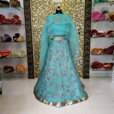 Blue Embroidered Organza Latest Indian Party Lehenga Choli