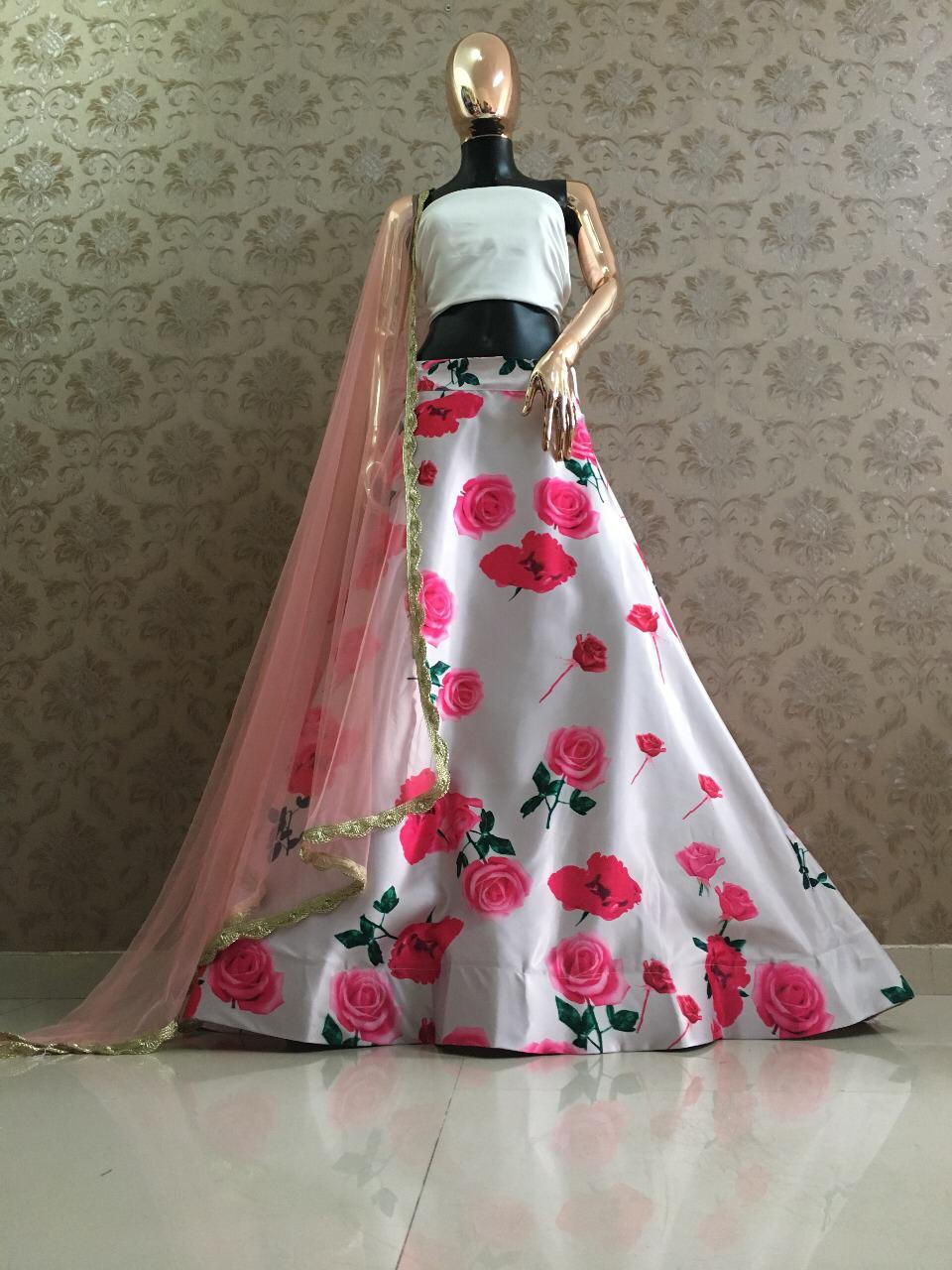 White And Pink Printed Satin Lehenga Blouse Online Buy