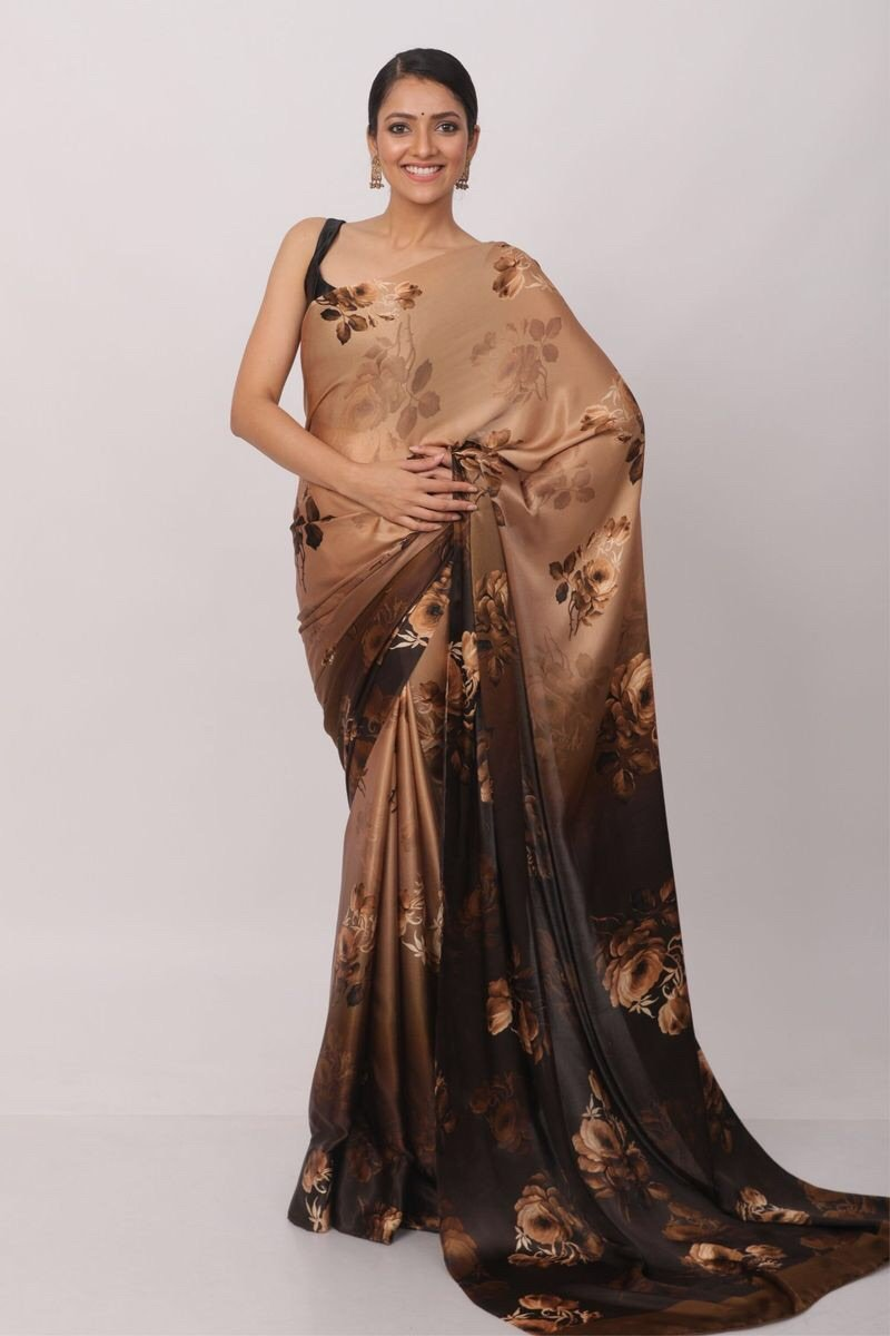 Light Brown and Dark Brown Shaded Floral Print Satin Silk Saree Online