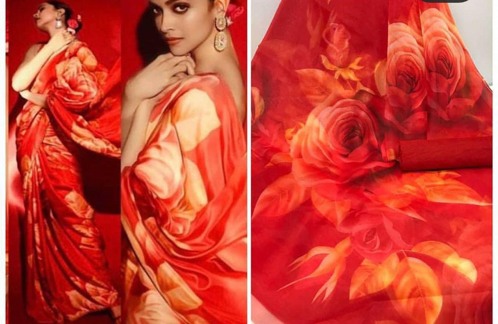 Deepika Red Rose Floral Digital Printed Latest Organza Saree and Blouse Set