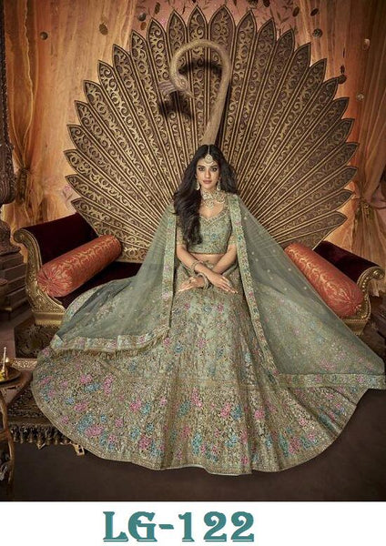 Celadon Green Banglori Satin Embroidered Latest Party Wear Lehenga Online