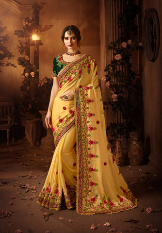Yellow Beautiful Embroidery Satin Indian Wedding Wear Saree Blouse Online