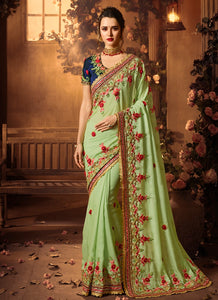Pista Green Embroidered Satin Party Saree With Contrast Blouse