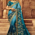 Blue Shaded Art Silk Embroidered Indian Dress Saree Online