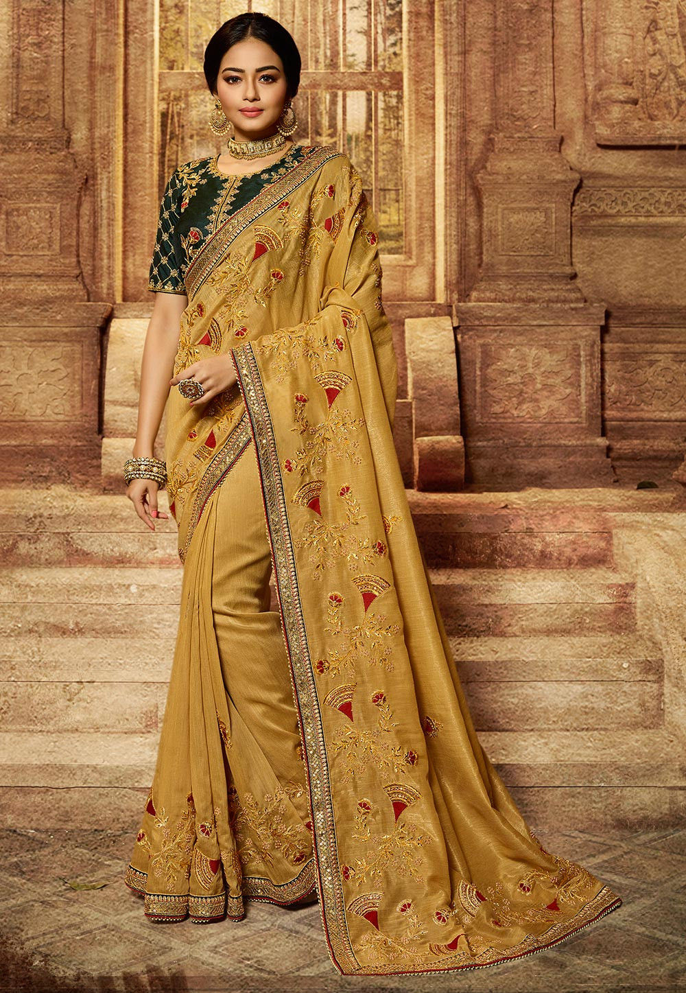 Mustard Art Silk Embroidered Indian Saree With Price