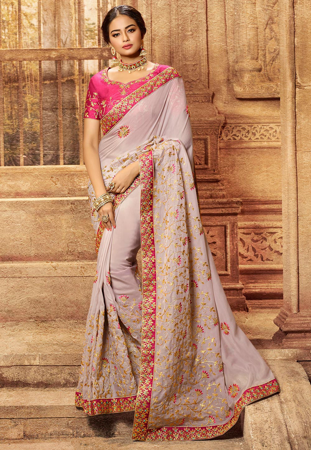 Light Purple Cotton Silk Embroidered Indian Ladies Party Saree