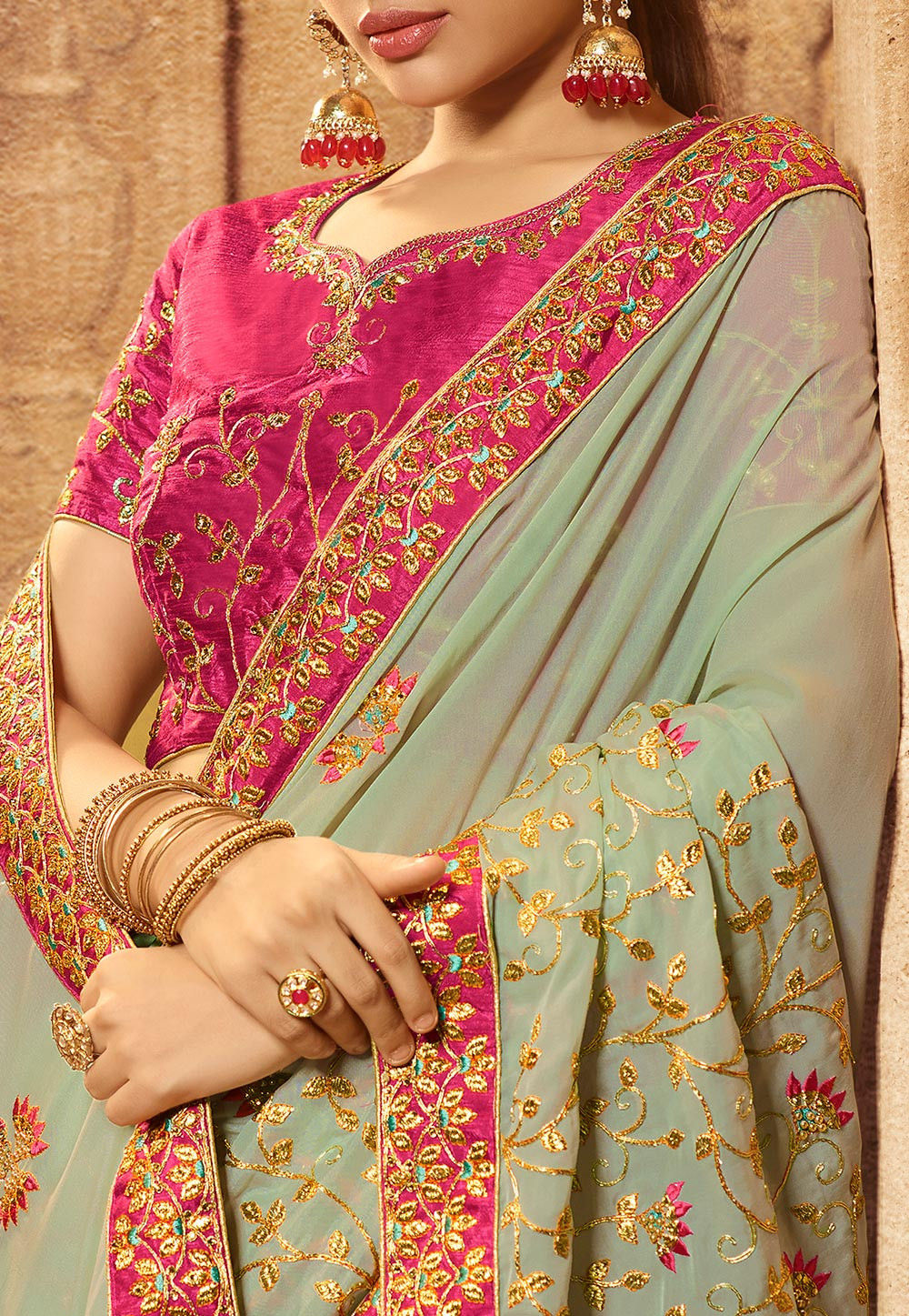Dusty Green Cotton Silk Embroidered Latest Sarees Online India