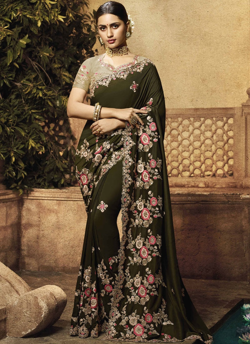 Olive Green Art Silk Embroidered Fancy Ladies Sarees Online
