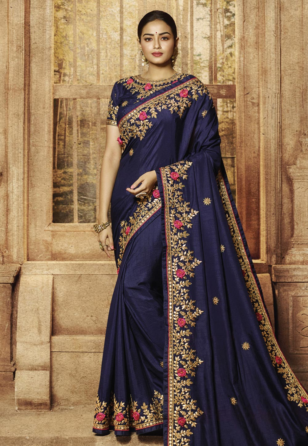 Navy Blue Art Silk Embroidered Party Wear Latest Women Saree Online