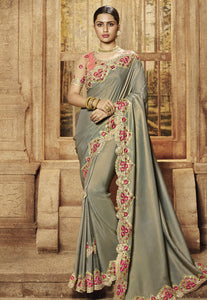 Grey Art Silk Embroidered Latest Fancy Saree Collection With Price