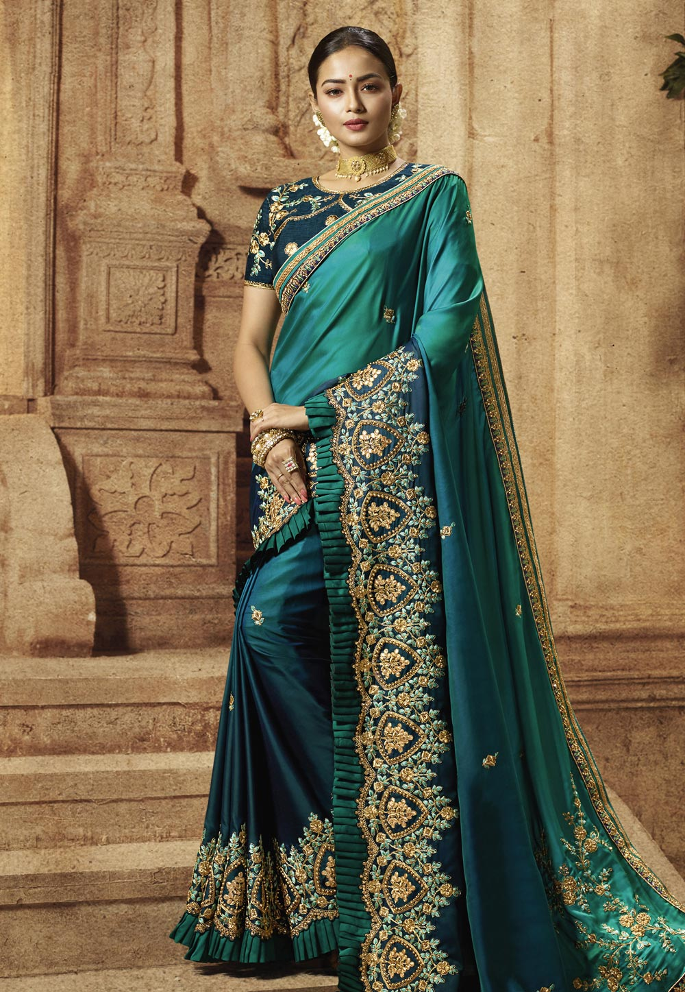 Teal Green Shaded Art Silk Embroidered Party Wear Sarees For Ladies