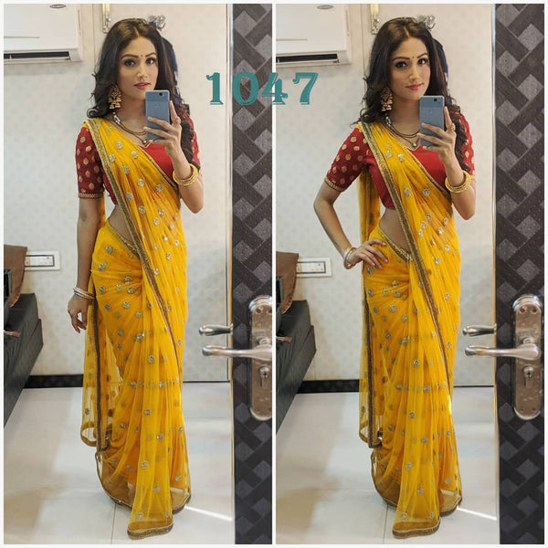 Yellow Embroidery Georgette Party Wear Saree Blouse Designs