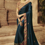 Dark Teal Fancy Art Silk Embroidered New Party Wear Sarees Online