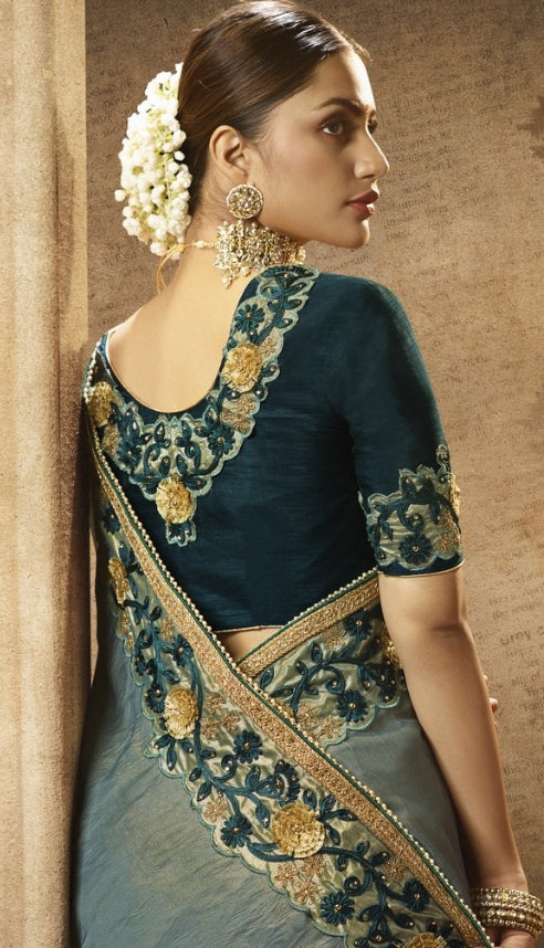 Embroidered Women Party Wear Sarees in Shimmer Grey Tone Art Silk Crush