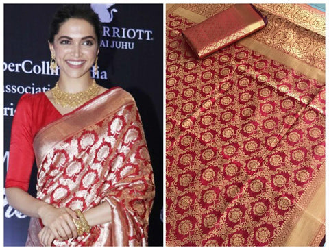 Deepika Padukone Red Banarasi Traditional Silk Saree Online