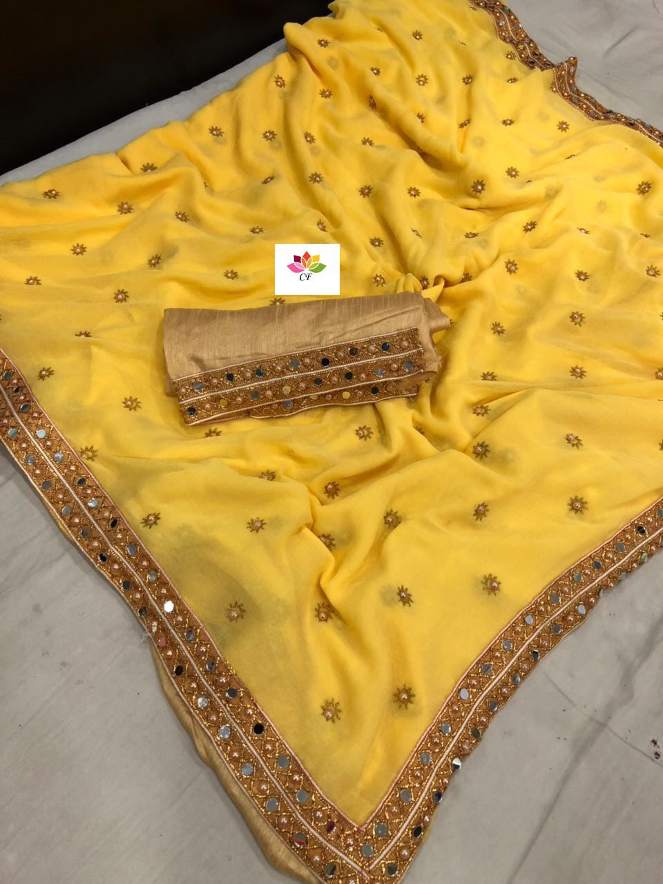 Yellow Marble Georgette Fancy Work Latest Saree Shop Online