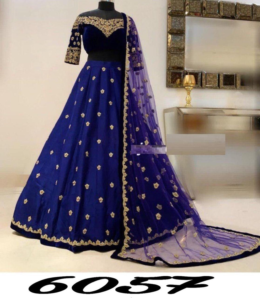 Navy Blue Taffeta Silk Indian Party Dress Lehenga Chunni Online