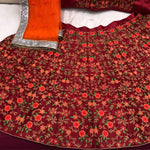 Anushka Sharma Dark Red Embroidered Bollywood Wedding Lehenga Online