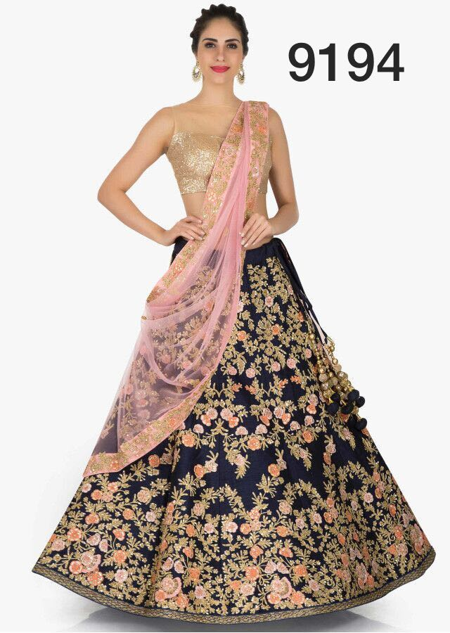Navy Blue Mulberry Silk Embroidery New Latest Lehenga Choli